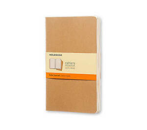 Moleskine Cahier Journal (Set of 3), Large, Ruled, Kraft Brown, Soft Cover (5 x