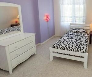 white wooden single bed  with mattress and dressing table