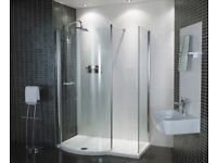 shower cubicle and mixer taps,