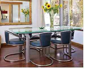 Contemporary Designer White and Clear Glass Dining Table Beaconsfield Fremantle Area Preview