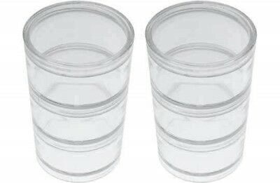6pc Stackable Plastic Containers with 6 Screw On Lids, 2 inch Round