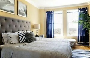 West Elm Upholstered Headboard King w/ Bed Frame and Box Spring