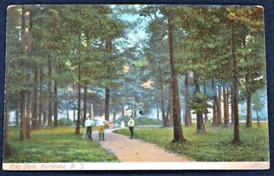 City Park Plainfield New Jersey NJ Postcard PC 1907 to Easton PA