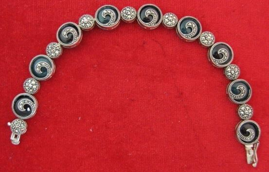 Sterling Silver Bracelet With Marcasites On Onyx