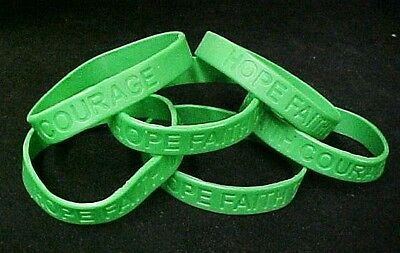 Green Awareness Bracelets 6 Piece Lot Silicone Jelly Wristband Cancer Cause New (Cause Bracelets)