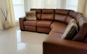 Custom Made Tan Brown Leather Lounge for sale Beaumont Hills The Hills District Preview