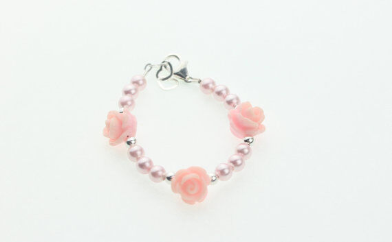 Baby Bracelet with Pink Flower Beads with Pink Swarovski Pearls
