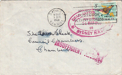 "Stamp Australia 5c bird on cover ""INSUFFICIENTLY ADDRESSED dead letter office"