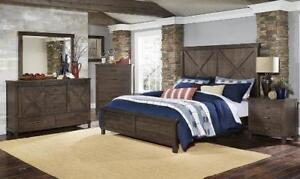 The Utah queen rustic suite with barn doors and rustic finish