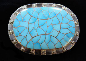 Stunning handmade Zuni channel inlay Turquoise belt buckle