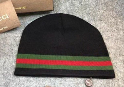 NEW Authentic GUCCI black Unisex Knit Beanie Hat Silk/Wool Blend black