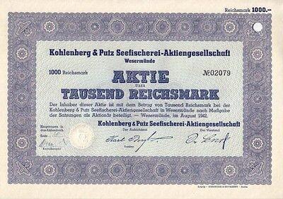 Kohlenberg & Putz, Seefischerei AG 1942 Wesermünde