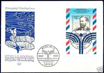 BRD 1991: Groß-FDC mit dem Lilienthal-Block Nr. 24! Berliner Sonderstempel! 1807