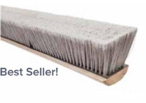 "Magnolia Brush #3714 14"" Pro Series Silver Flagged Tip Plastic Push Broom Head"