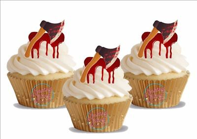 Bloody Halloween Cakes (12 Novelty Halloween Bloody Axes Axe Edible Cupcake Cake Toppers Decorations)