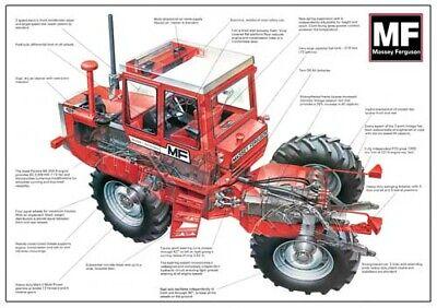 Vintage Massey Ferguson Tractor 1250 Cutaway Sales Brochureposter Advert A3