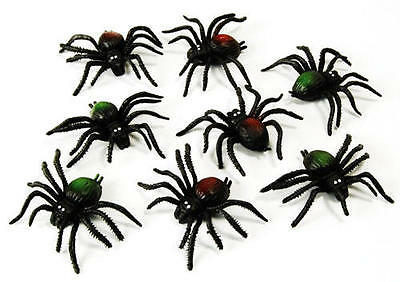 Scary Spiders 8 Pack Black Widow Spider Decoration Halloween Party Fancy Dress