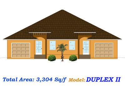 3 304 Sq Ft Custom Duplex Home Plan House Blueprints Complete Set In Pdf New