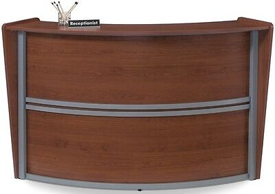 Contemporary Reception Station Desk in Cherry Finish with Silver Frame Accent