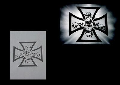 Airbrush Schablonen / Stencil 0612 Eisernes Kreuz mit Schädel 1