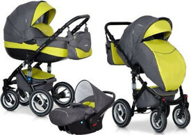 RIKO BRANO OLIVE PRAM 3in1 CARRYCOT + PUSH CHAIR + CAR SEAT