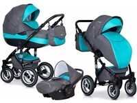 RIKO BRANO PRAM 3in1 OCEAN + CARRYCOT + PUSH CHAIR + CAR SEAT MODERN PRAM BABY PUSH CHAIR