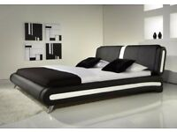 Adda Modern King Size Faux Leather Bed Black & White Bed+Memory Mattress