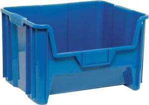 Blue Plastic Stackable Bins - 18 x 16 1⁄2 x 11""
