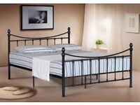BLACK VICTORIAN STYLE KING SIZE METAL BED FRAME - NEVER ASSEMBLED