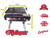 COMMERCIAL/CATERING 3 IN 1 CHAR FLAME BBQ GRILL ON STAND WITH GRIDDLE & HOTPLATE + SAFETY FEATURES