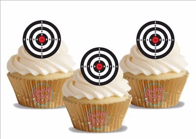 Target Cake Decorations (Novelty Air Rifle Shooting Targets Edible Cake Toppers Decorations Guns)