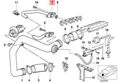 BMW E34 E36 Sedan EGR Air Duct Supercharger Pipe 2244533 11712244533 NEW