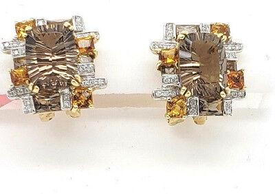 (Bellari Topaz Citrine Diamond 18kY gold dual NON Pierced & post earrings NWOT)