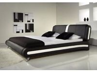 **FREE UK DELIVERY**Modern I Italian Style Leather Bed and Memory Mattress- BRAND NEW!