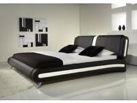 Modern I Italian Style Leather Bed and Memory Mattress- OVER 50% OFF! AND ALSO FREE DELIVERY