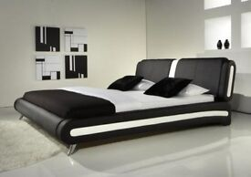 4FT6 DOUBLE BED MODERN LEATHER BED with Luxury Memory Foam Mattress