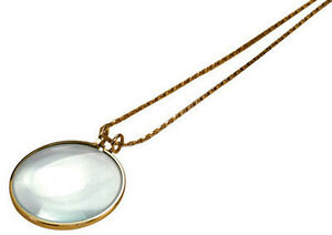 5X-Necklace-Magnifier-1-3-4-034-Glass-Lens-36-034-Gold-Chain-MONOCLE-SPECTACLE