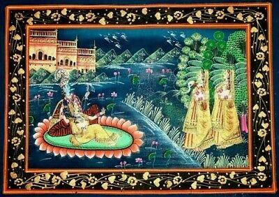 Painting Paint Painting Satin Gold Decor Vintage Ethnic Tibet CM 50x30 N.4