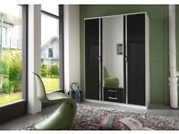 HIGH GLOSS FINISH BRAND NEW QUALITY 3 door wardrobe and 4 door wardrobe in black & white colour