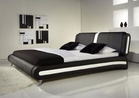 **FREE UK DELIVERY** Modern I Italian Style Leather Bed and Memory Mattress- OVER 50% OFF!