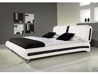 **7-DAY MONEY BACK GUARANTEE!** Modern I Italian Style Leather Bed and Memory Mattress- CLEARANCE!