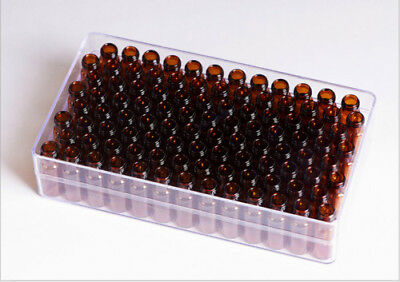 100pcs Amber Sample Vial 2ml With Writing Area Screw Top Glass Bottle Lab 9-425