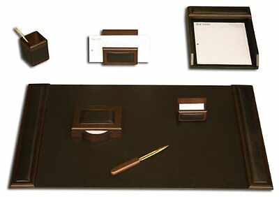 Dacs-d8404-dacasso Walnut And Leather Desk Set 7-piece