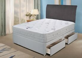 NEW! KING SIZE DIVAN POCKET SPRUNG BED+ 1000 POCKET SPRUNG MATTRESS DOUBLE, SINGLE, KING AVAIABLE