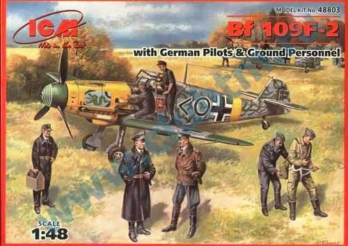 MESSERSCHMITT Bf 109 F-2 W/PILOTS & GROUND CREW(YELLOW NOSE I/JG3) 1/48 ICM RARE