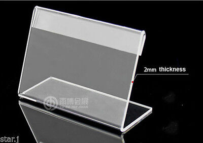 30pcs Acrylic Sign Display Holder Price Label Stand 55x85mm - Free Shipping