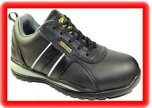 womens black leather work safety steel toe cap
