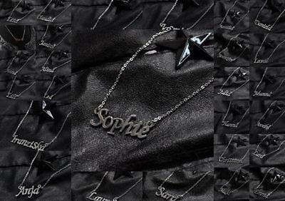 Frauen Kind Freunde Edelstahl Namenskette Halskette Name Kette Buchstaben Silber (Kind Halskette)