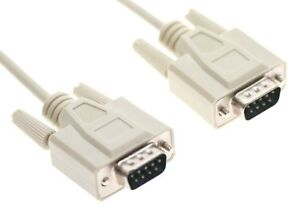 DB9 male to DB9 male RS-232 cable by HP 5 feet long
