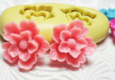 Silicone Resin Polymer Clay Fondant Flexible Push Mold FLOWER DUO 1630